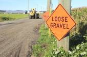 Loose Gravel Construction Sign — Stock Photo