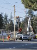 Dismantling Old Telephone Poles — Stock Photo