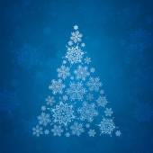 Christmas card. Christmas tree with snow. Vector Illustration. — Stock Vector