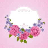 Blossoming roses with spring flowers on white. Vector illustration. — Stock vektor