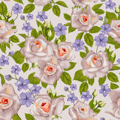 Seamless wallpaper pattern with roses and other flowers on design background, vector illustration. — Stock Vector