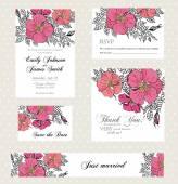 Wedding invitation set with vintage flowers — Vector de stock