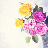 Vintage card with roses in vase — Stock Photo