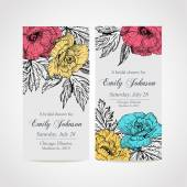 Set of invitation cards with flowers — Stock Vector
