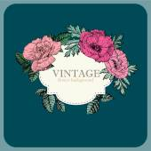 Vintage frame with watercolor flowers — Vector de stock