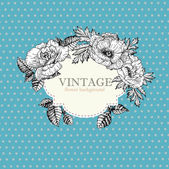 Vintage frame with watercolor flowers — Vettoriale Stock
