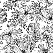 Pattern with beautiful watercolor flowers — Vetorial Stock
