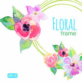 Frame with watercolor flowers — Stock Vector