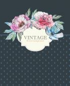Invitation card with vintage flowers — Vettoriale Stock