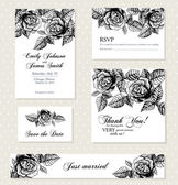 Set of invitation cards with vintage flowers — Stock Vector