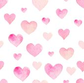 Watercolor seamless pattern with hearts — Stock Vector