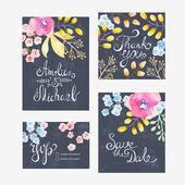 Tarjeta de invitación con flores — Vector de stock