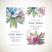 Set of invitation cards with flowers — ストックベクタ