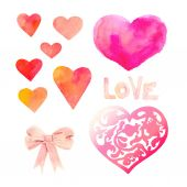 Watercolor hearts symbol set — Stock Vector