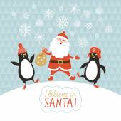 Penguins and Santa — Stock Vector