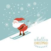 Santa skiing down a mountain slope — Stock Vector