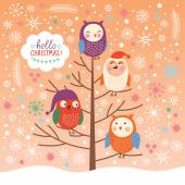 Cute owls on the tree, Christmas background, Merry Christmas greeting card — Vetorial Stock