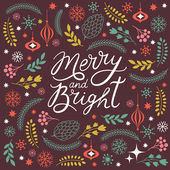 Merry and Bright lettering — Stok Vektör