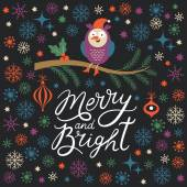 Merry and Bright lettering — Stock Vector