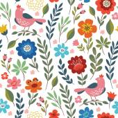 Colorful floral background with  birds — Stock Vector