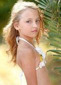 Portrait of little girl in tropical style — Foto de Stock