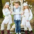 Portrait of little boys and two girls i in a Christmas style — Stock Photo #55127949