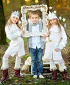 Portrait of little boys and two girls i in a Christmas style — Stock Photo