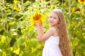 Portrait of little girl with a sunflower — Stock Photo