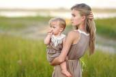 Portrait of two sisters in nature summer — Stock Photo