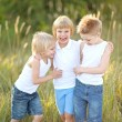 Three children playing on meadow in summer — Stock Photo #60515031