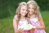 Portrait of two little girls twins — Stock Photo