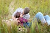 Beautiful Couple in love on summer beach — Stock Photo