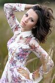 Beautiful elegant brunette girl in a field — Stock Photo