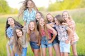 Portrait of joyful beautiful girlfriends on the nature — Stock Photo