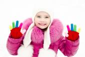 Portrait of smiling little girl in winter day — Stock Photo