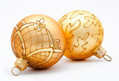 Two golden christmas balls isolated — Stock Photo