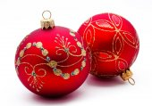 Two red christmas balls isolated — Stock Photo