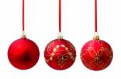 Hunging red christmas ball isolated — Stock Photo