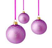 Hanging lilac christmas balls isolated — Stock Photo