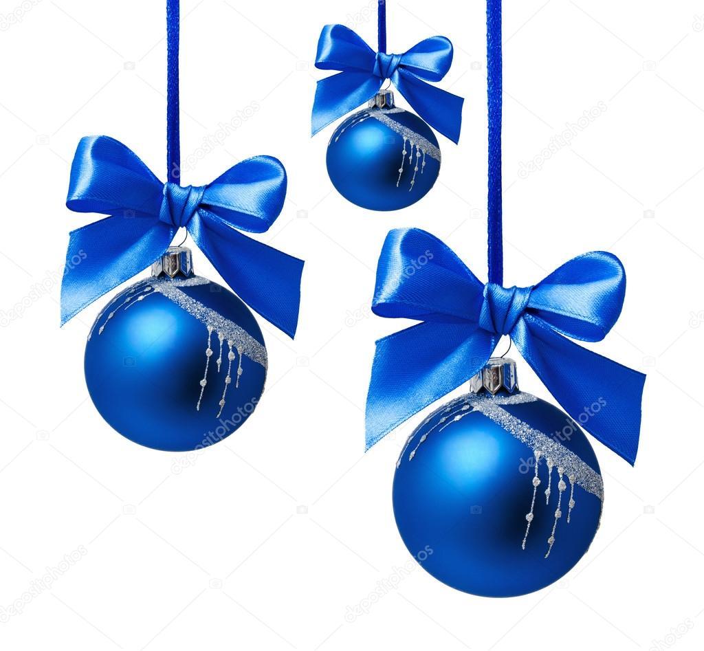 Bolas navidad azules con cinta aislado fotos de stock for Dibujos de navidad bolas