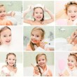 Collection of photos cute little girl washing brushing teeth — Stock Photo #59251215
