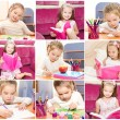 Collection of photos cute little girl writing reading — Stock Photo #59251217