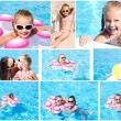 Collection of photos cute little girl and mother — Stock Photo #59251727