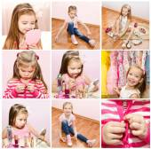 Collection of photos little girl with cosmetic — Stock Photo