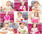 Collection of photos cute little girl writing reading  — Stock Photo