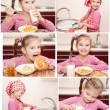 Collection of photos cute little girl having breakfast — Stock Photo #65160079