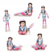 Collection of photos cute smiling little girl in roller skates — Stockfoto