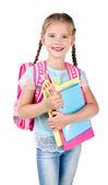 Portrait of smiling schoolgirl with school bag — Stock Photo