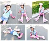 Коллекция фотографий, мило улыбаясь маленькая девочка — Стоковое фото