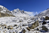 Ледника Ганготри с Бхагиратхи пиков в Garhwal Гималаи, Уттаранчал, Уттаракханд, Индия — Стоковое фото